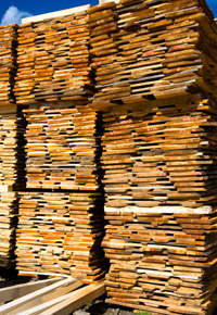 stacked wood air drying