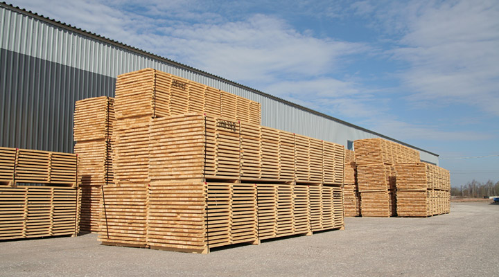 wood stacks ready for export